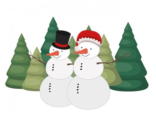 Par, boneco neve, pinho, árvores