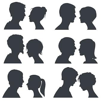 Par, caras, menino jovem, e, menina, cabeça, vetorial, silhuetas, isolado, branco