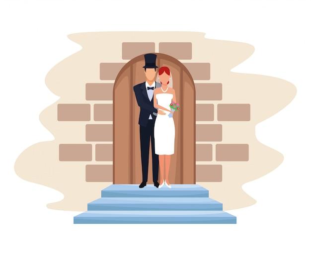 Par casando, em, capela, porta