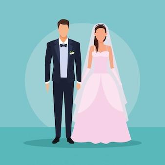 Par casando, segurando, mãos