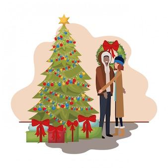 Par, com, árvore natal, e, presentes