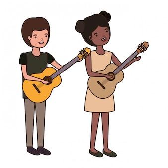 Par, com, musical, instrumentos, avatar, personagem