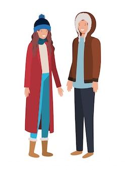 Par, com, roupas de inverno, avatar, personagem