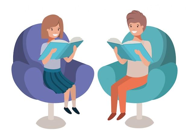 Par criança, sentando, em, sofá, com, livro, avatar, personagem