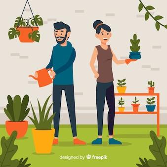 Par, cuidando, de, plantas