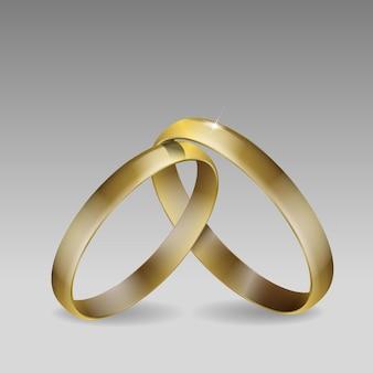 Par de alianças de casamento. ouro. ilustração 3d realista.
