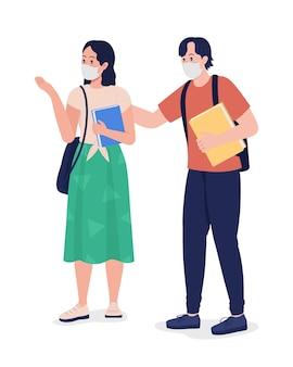 Par de alunos em máscaras de personagem de vetor de cor semi plana. figuras de alunos do ensino médio. pessoas de corpo inteiro em branco. ilustração de estilo cartoon moderno isolado escola para design gráfico e animação