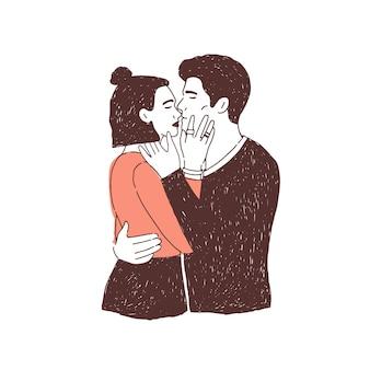 Par de amantes apaixonados em encontro. jovem elegante e mulher abraçando e beijando.