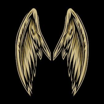 Par de asas em preto