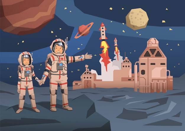 Par de astronautas observando planeta alienígena com colônia espacial e lançando naves espaciais no.