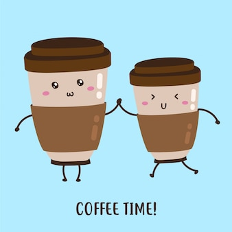 Par de café fresco feliz fofo em um desenho vetorial de vidro