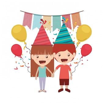 Par, de, crianças, em, aniversário, celebração