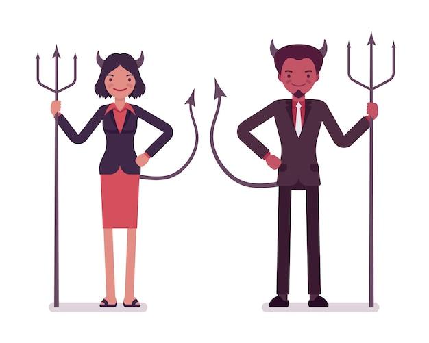 Par de demônios, homem e mulher