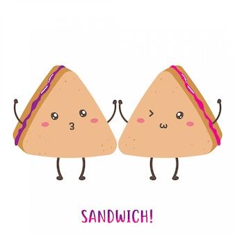Par de design de vetor de sanduíche feliz bonito