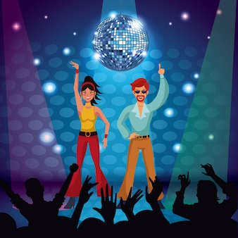 Par, de, discoteca, dançarinos, em, fase