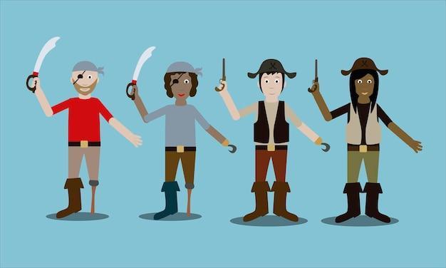 Par de dois homens com elementos corporais separados com sabres e bacamarte estilo moderno e plano