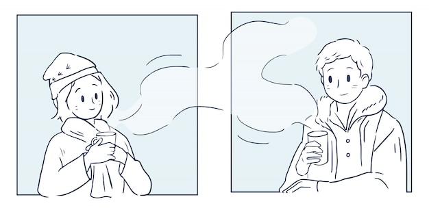 Par de doodle do conjunto de amor