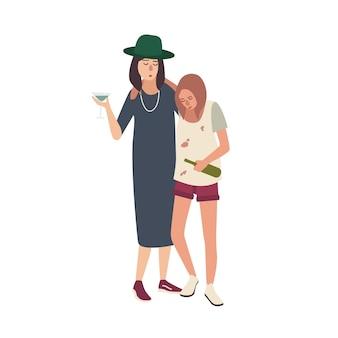 Par de garotas bêbadas vestidas com roupas bagunçadas. mulheres jovens bebendo álcool isolado no fundo branco. personagens de desenhos animados femininos com forte dependência do álcool. ilustração em vetor plana colorida.