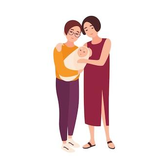 Par de giros mulheres homossexuais juntos, segurando o bebê recém-nascido e sorrindo. feliz família lgbt com criança. personagens de desenhos animados plana isolados no fundo branco. ilustração colorida.