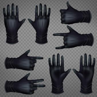 Par de luvas de couro preto
