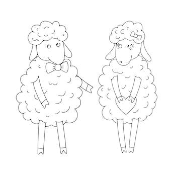 Par de ovelha menino e menina desenho linear doodle