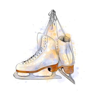 Par de patins de gelo de um toque de aquarela, esboço desenhado à mão. ilustração de tintas