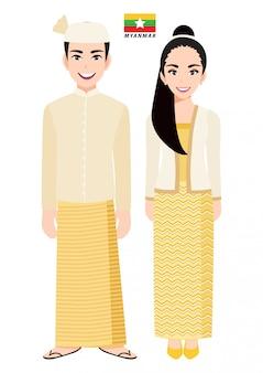 Par de personagens de desenhos animados em traje tradicional de mianmar