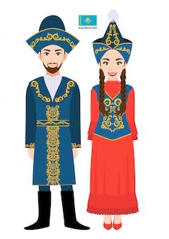 Par de personagens de desenhos animados em traje tradicional do cazaquistão