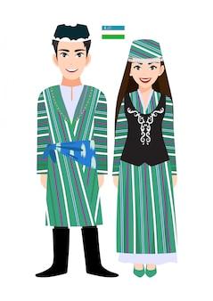 Par de personagens de desenhos animados em traje tradicional do uzbequistão