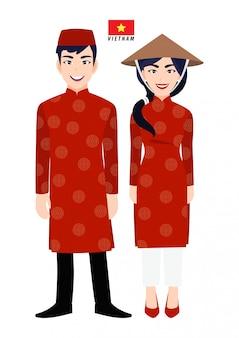 Par de personagens de desenhos animados em traje tradicional do vietnã