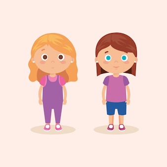 Par de personagens de meninas pequenas