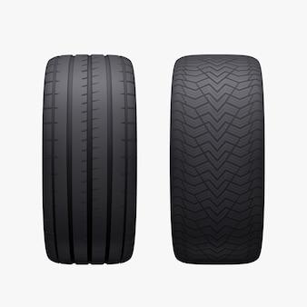 Par de pneus de carro realistas isolados inverno e verão