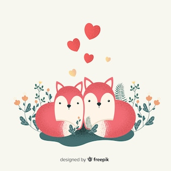 Par, de, raposas, em, amor