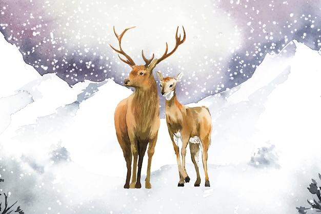 Par de veados desenhados à mão em uma paisagem de inverno