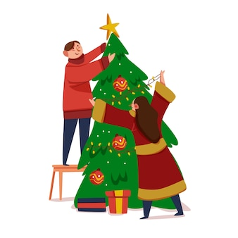 Par, decorando, árvore natal