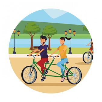 Par, em, bicicleta dobro