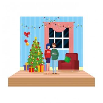 Par, em, sala de estar, com, decoração natal