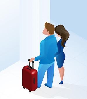 Par, homem mulher, chegando, hotel, corredor, isometric