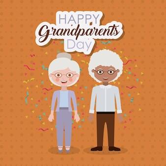 Par, homem velho, e, mulher, ícone