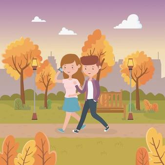 Par jovem, andar, em, a, parque, caráteres