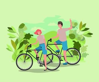 Par jovem, bicicleta, parque