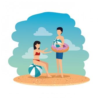 Par jovem, com, balloon, e, flutuador, praia