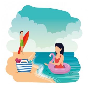 Par jovem, com, flutuador, e, surfboard, praia