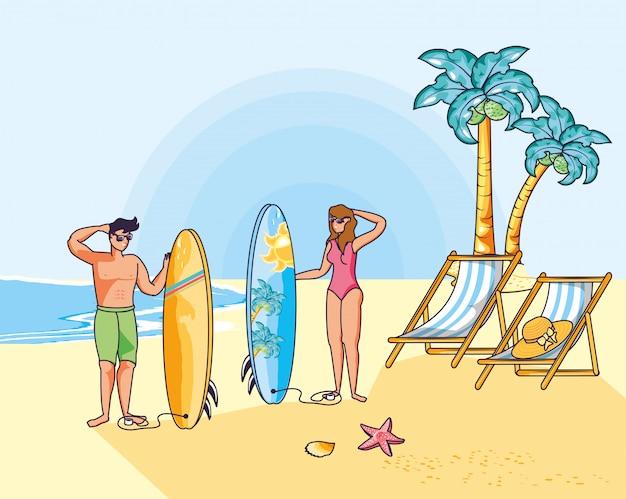 Par jovem, com, swimsuit, em, praia, verão, cena