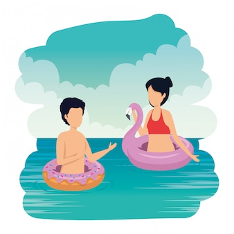 Par jovem, com, swimsuit, ligado, a, mar, caráteres