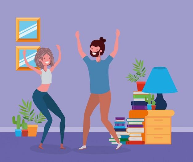 Par jovem, dançar, em, a, livingroom