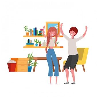 Par jovem, dançar, em, sala de estar, personagem