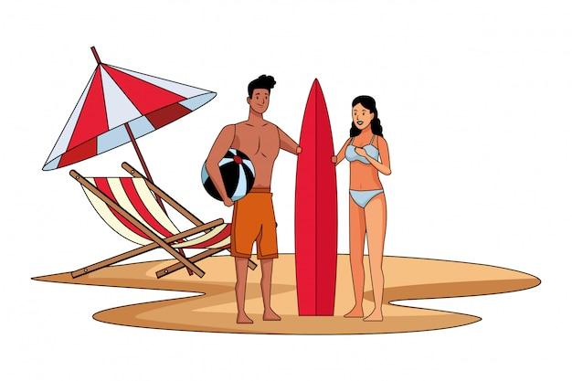 Par jovem, desfrutando, verão, desenhos animados