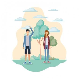 Par jovem, em, paisagem, com, árvores plantas