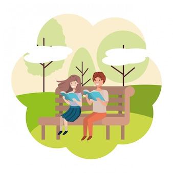 Par jovem, em, parque, cadeira, avatar, personagem
